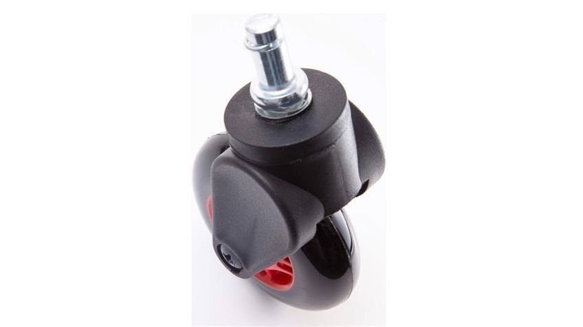 Hartbodenrollen DX RACER Bürostuhlrollen schwarz rot 11 mm