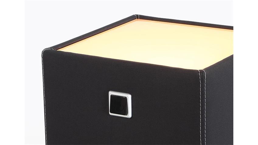 Nachtkommode LIGHTNESS Feinstruktur Schwarz mit Beleuchtung