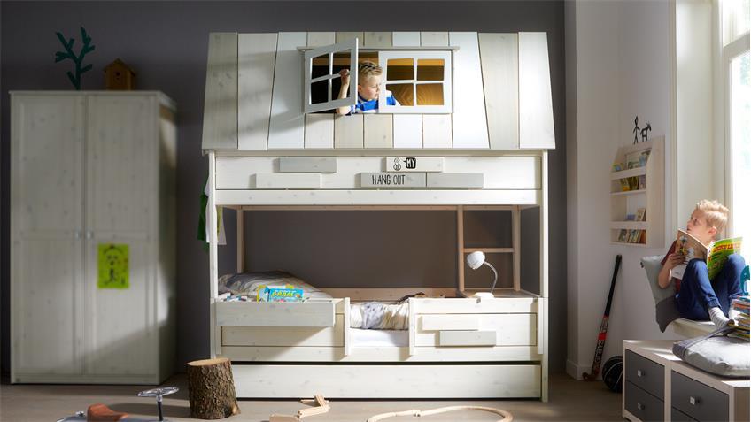 abenteuerbett my hangout etagenbett kiefer massiv whitewash. Black Bedroom Furniture Sets. Home Design Ideas