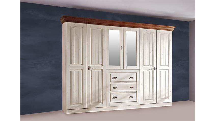 Kleiderschrank MALTA Kiefer massiv Weiß Braun Spiegel 319 cm
