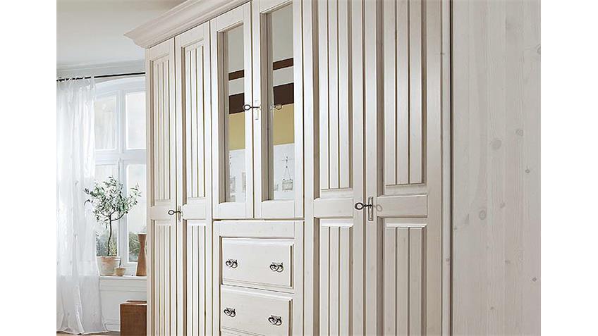 Kleiderschrank MALTA Kiefer massiv Weiß Spiegel 319 cm