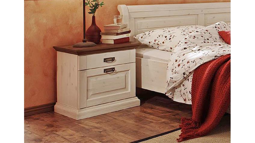 Nachtkommode MALTA in weiß und braun mit 2 Schubkästen
