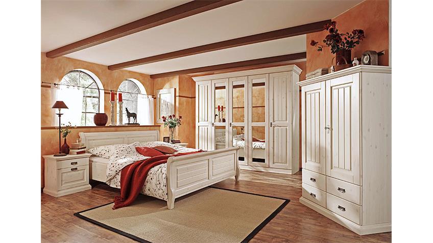 Bett MALTA Schlafzimmerbett in Kiefer massiv weiß 180x200