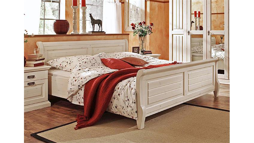 Bett MALTA Schlafzimmerbett in Kiefer massiv weiß 200 cm