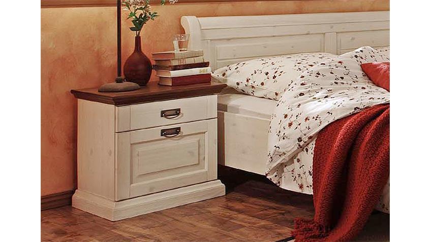 Schlafzimmer 1 MALTA Kiefer massiv Weiß Braun