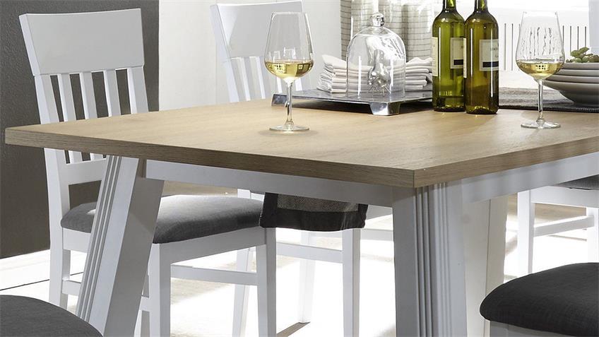 Tischgruppe BOLEROS Tisch Stuhl Esszimmer weiß Lack Eiche