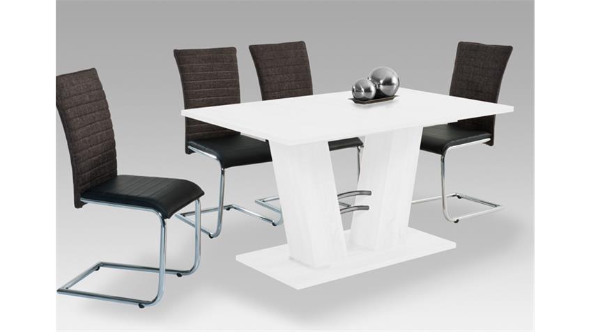 Ausziehtisch ADRIAN Esstisch Tisch in weiß 140-180 x90 cm