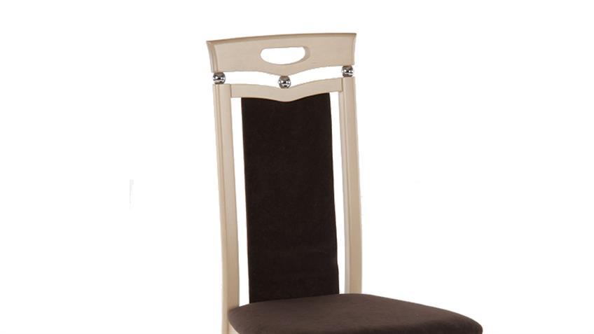 Stuhl LUPUS 4er-Set Polster braun Gestell Sonoma Eiche massiv
