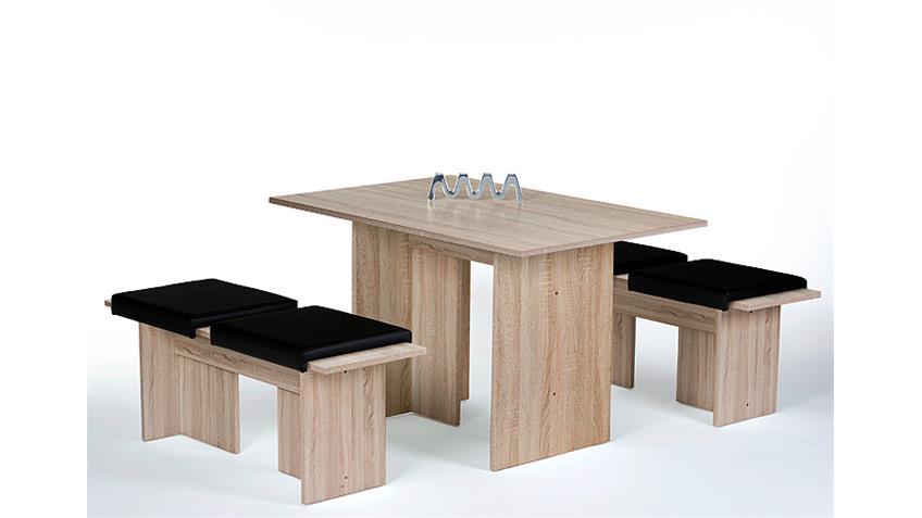 Tischgruppe ROSTOCK Tisch Bank Set in Eiche sägerau