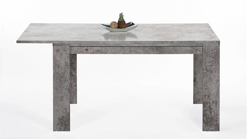 Esstisch FOXY in Beton Optik ausziehbar 140-200x80 cm