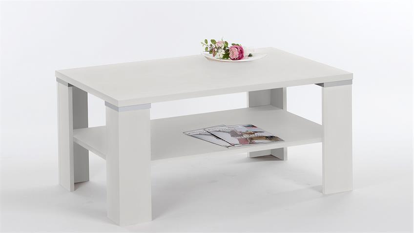 Couchtisch TOKIO Tisch in weiß Aluoptik 100x60 cm