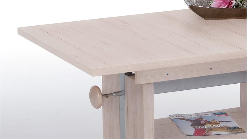 Couchtisch TUVALU Sandeiche Auszug Höhenverstellung
