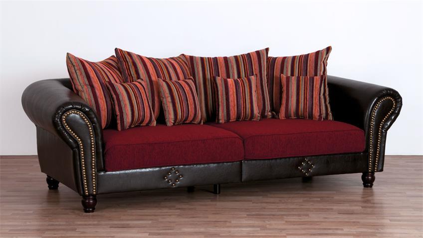 Big Sofa CARLOS antik dunkelbraun Stoff rot gestreift mit Kissen
