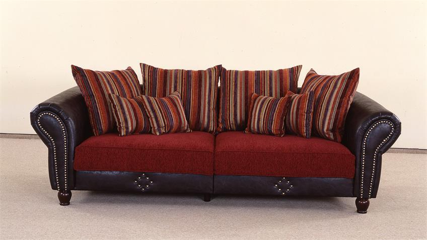 big sofa corin antik dunkel braun und rot inkl kissen. Black Bedroom Furniture Sets. Home Design Ideas