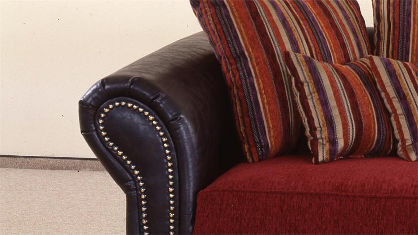 Big Sofa CORIN antik dunkel braun und rot inkl. Kissen