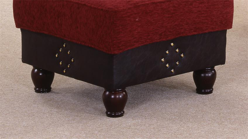 Hocker CORIN Fußhocker antik dunkel braun rot 68x46 cm