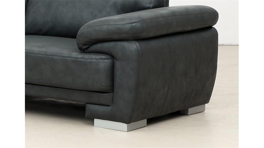Garnitur NELE Sofa Hocker Lederlook anthrazit mit Federkern