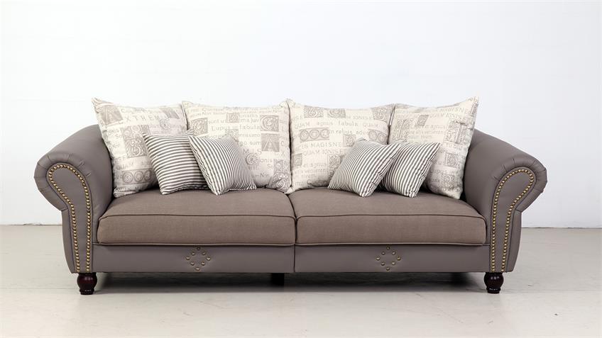 Big Sofa CORIN taupe grau inkl. Kissen beige