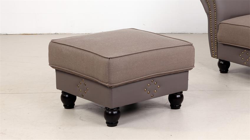 Hocker CORIN Fußhocker grau taupe 68x46 cm