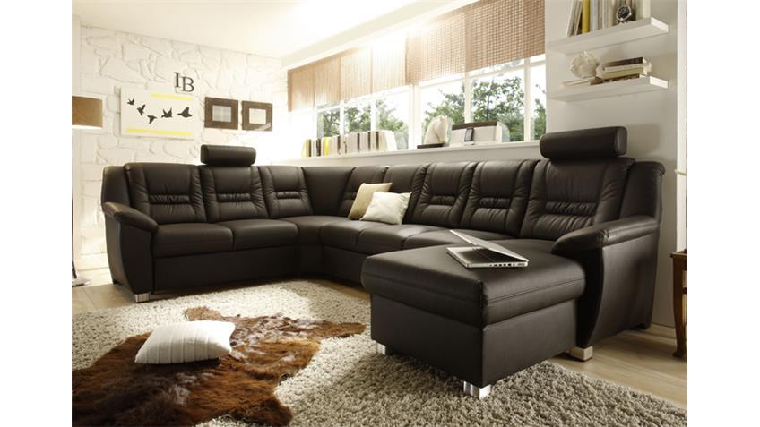wohnlandschaft myvario mit relaxfunktion und bett dunkelbraun. Black Bedroom Furniture Sets. Home Design Ideas