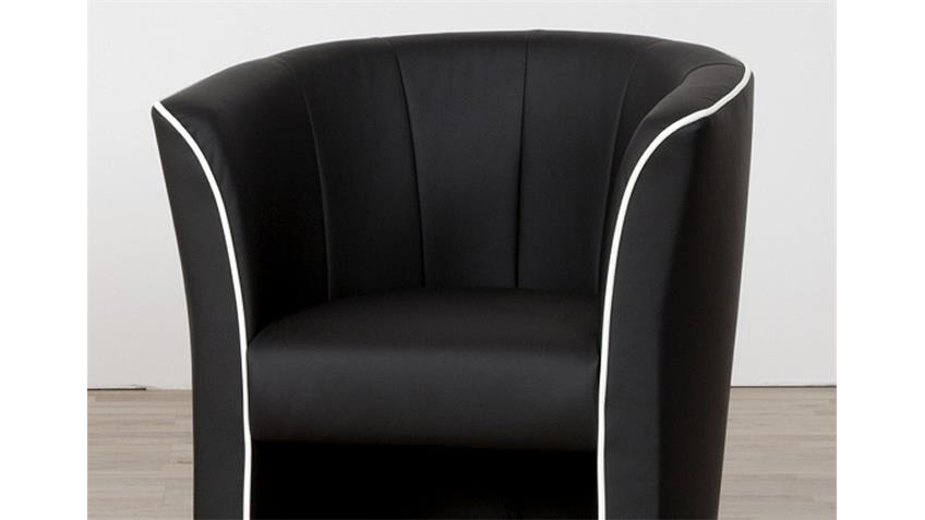 Sessel ARI Cocktailsessel in schwarz mit Keder in weiß