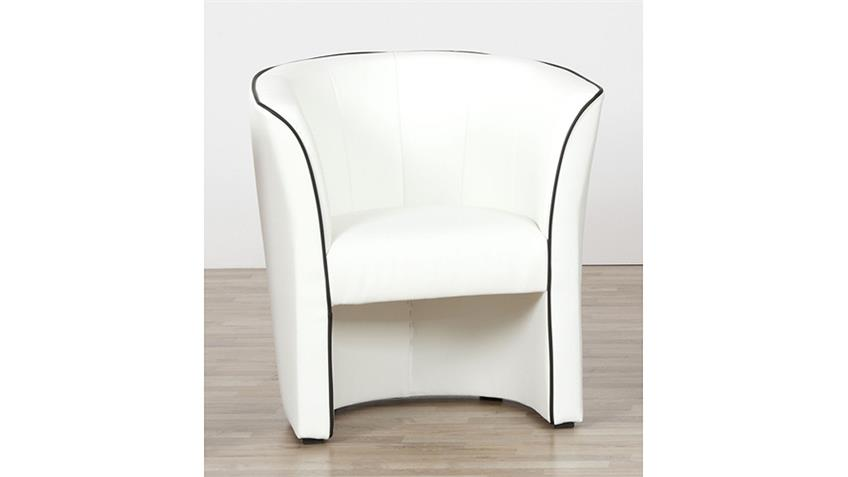 Sessel ARI Cocktailsessel in weiß mit Keder in schwarz