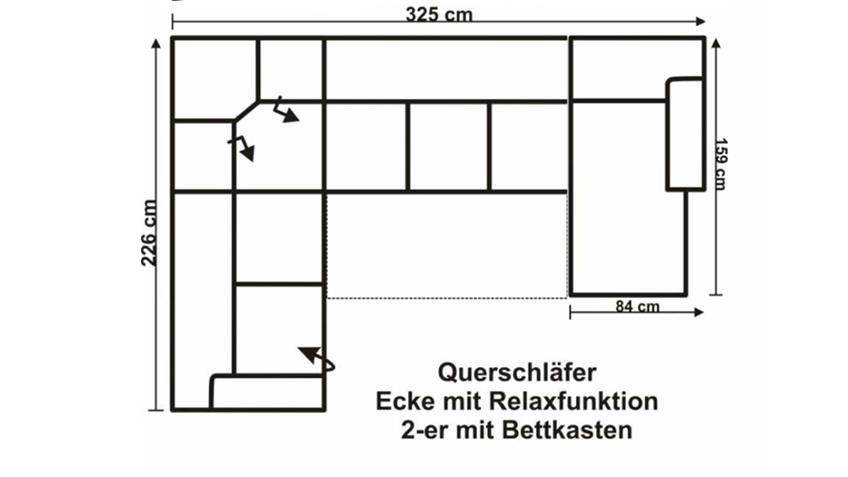 Wohnlandschaft ORION schwarz mit Bettfunktion OT R