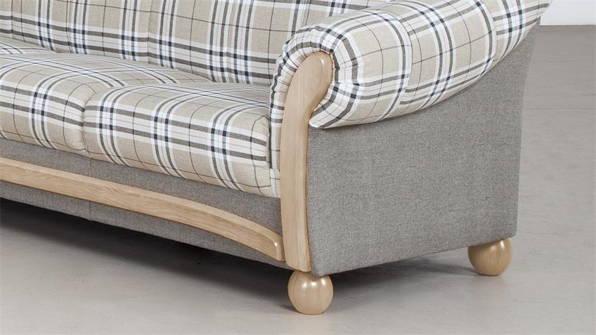 Sofa ARKUS 3-Sitzer grau beige Eiche Sonoma 215 cm