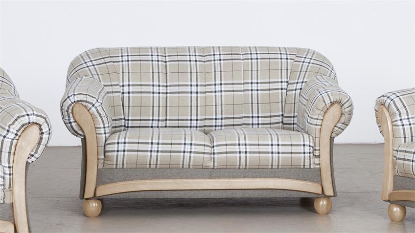 Sofa ARKUS 2-Sitzer grau beige Eiche Sonoma 156 cm
