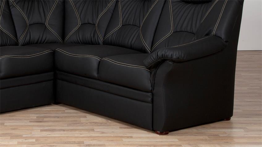 Ecksofa NELSI schwarz inkl. Funktionen 284x228 cm