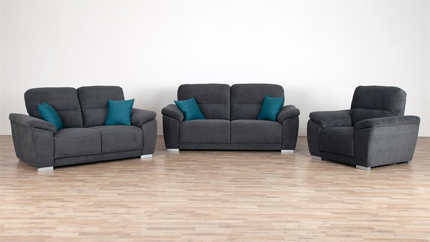 Sofa SORAN 3-Sitzer dunkelgrau inkl. Kissen petrol 220 cm