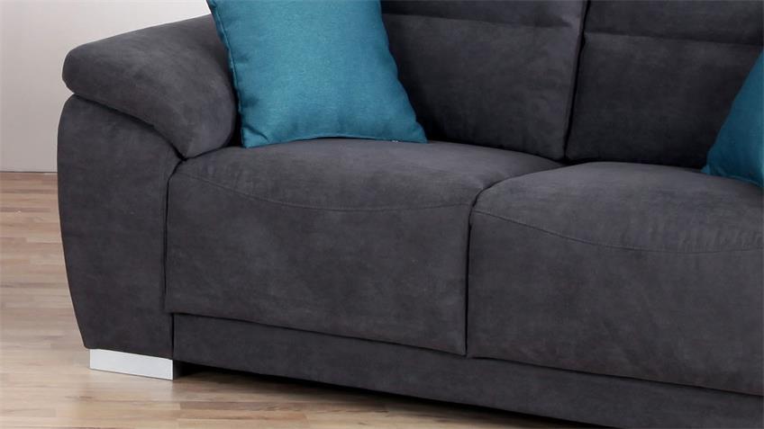 Sofa SORAN 2-Sitzer dunkelgrau inkl. Kissen petrol 170 cm