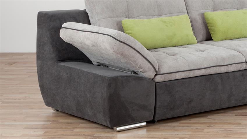 Ecksofa MILOA dunkelgrau grau inkl. Kissen grün 302x200