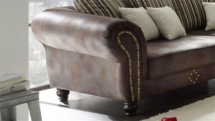 Big Sofa CARLOS antik dunkelbraun Stoff beige gestreift Kissen