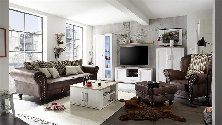 Big Sofa CORIN antik dunkel braun inkl. Kissen beige