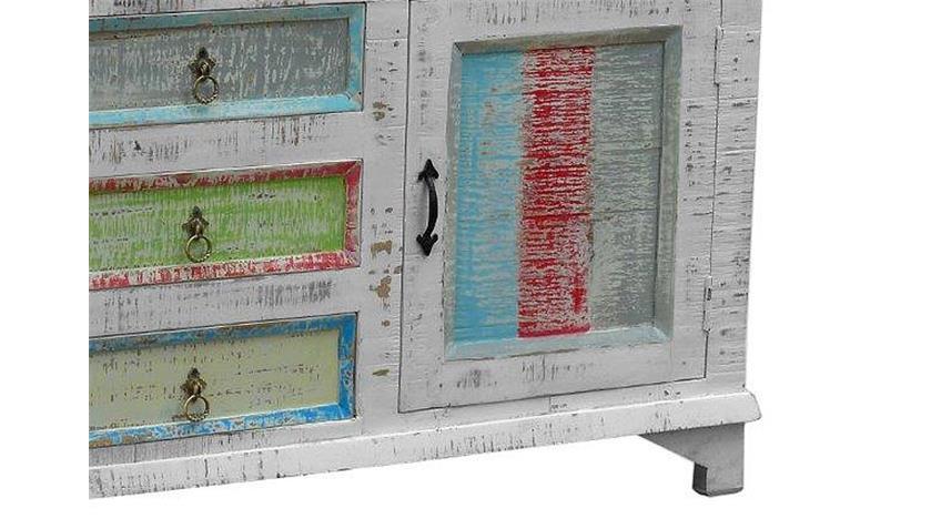 Kommode 1 CRAYON Massivholz antikweiß gewischt Pastell