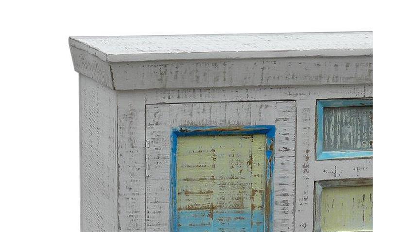 Kommode 3 CRAYON Massivholz antikweiß gewischt Pastell