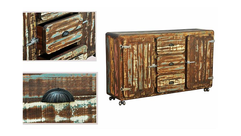 Sideboard 1 FIFTY STYLE recyceltes Massivholz mehrfarbig
