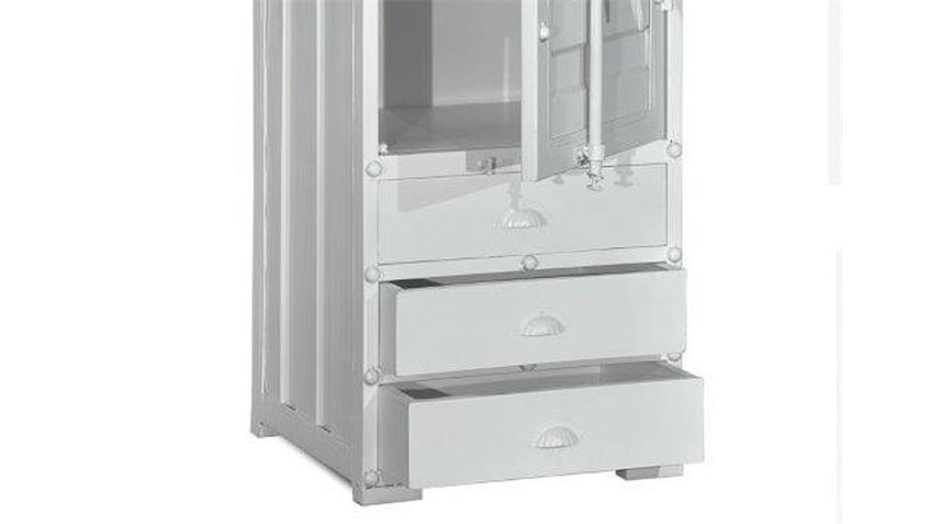 Schrank 1 CONTAINER Hochschrank in Metall weiß