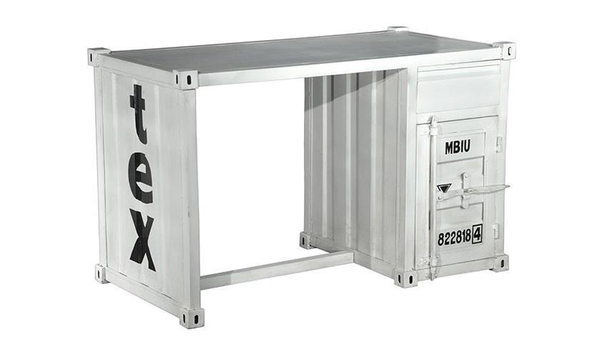 Schreibtisch CONTAINER Tisch in Metall weiß