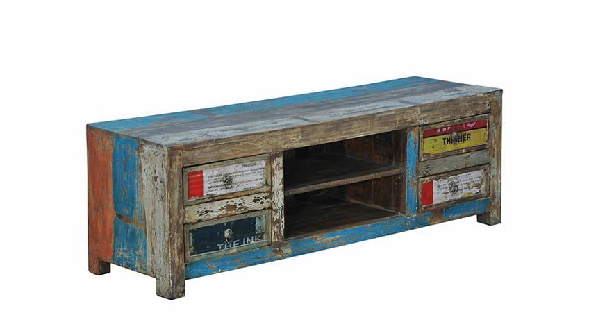 TV Board COLOURED recyceltes Massivholz Metall mehrfarbig