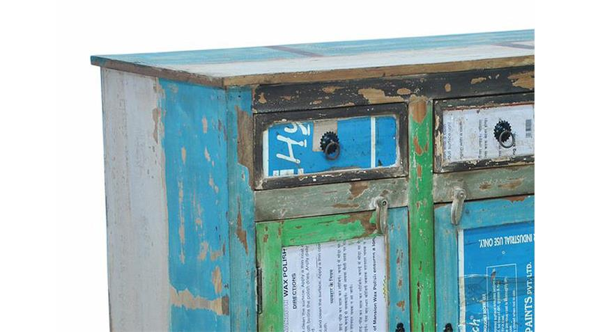 Kommode 2 COLOURED recyceltes Massivholz Metall mehrfarbig