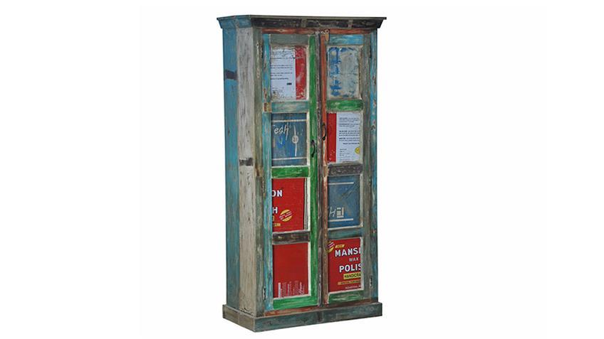 Schrank COLOURED recyceltes Massivholz Metall mehrfarbig