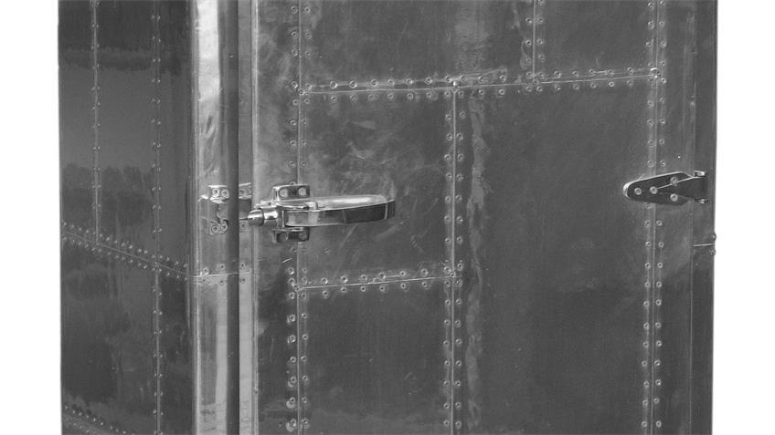 Schrank AVIATORS in MDF und Edelstahloptik mit 1 Tür
