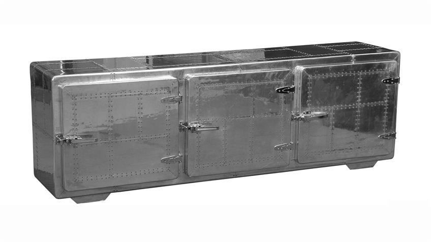 Sideboard AVIATORS in MDF und Edelstahloptik mit 3 Türen