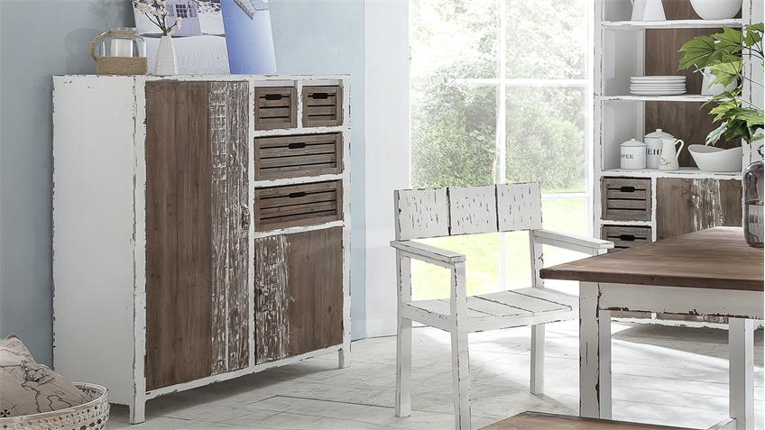 highboard kommode aimann shabby chic in antik wei. Black Bedroom Furniture Sets. Home Design Ideas