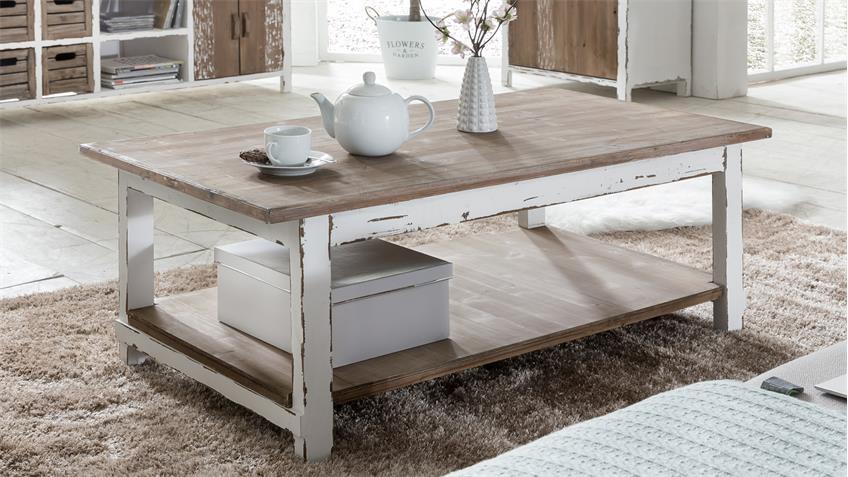 s couchtisch aimann tanne antik wei 1 ablage. Black Bedroom Furniture Sets. Home Design Ideas