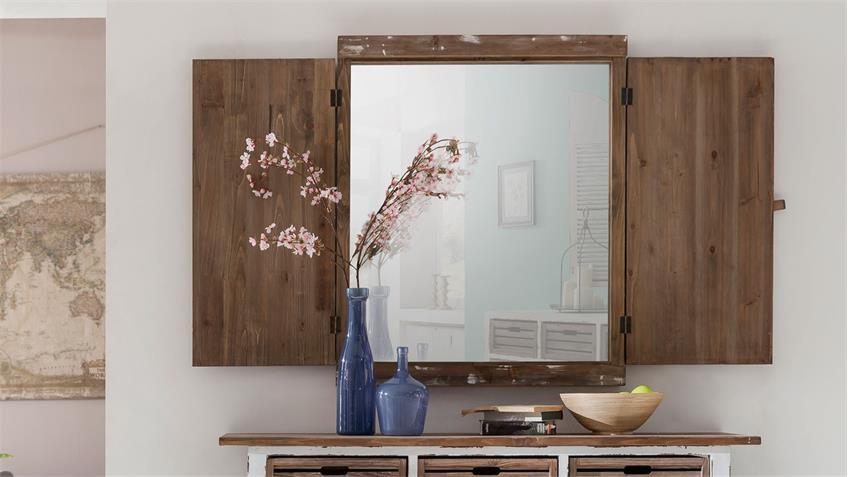 Shabby Chic Deko-Spiegel Aimann mit Fensterläden