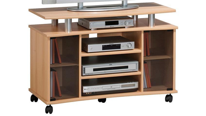 TV-Rack Maja 7362 TV-Board in Buche mit Rauchglas