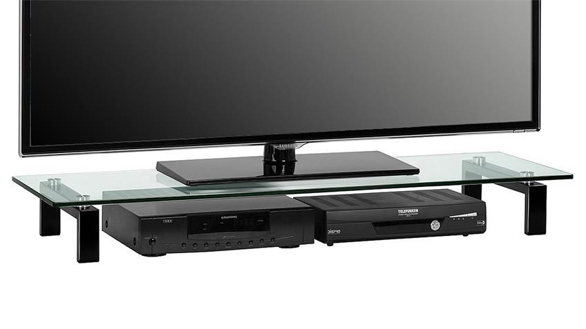 TV-Board Maja 1605 Lowboard Metall schwarz mit Klarglas